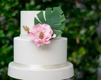 Tropical Flower Arrangement - Monstera, Gold Pineapple, and Open Rose - Bridal Shower Cake Topper