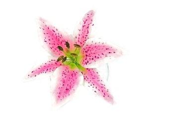 Stargazer Lily Sugar Flower Wedding Cake Topper and Gumpaste Flower Decoration