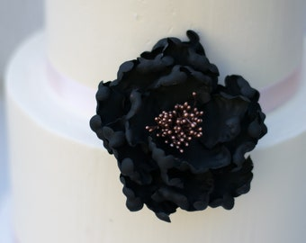 Black and Rose Gold Open Peony Sugar Flower wedding cake topper