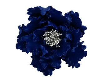 Navy Blue and Silver Open Peony Gumpaste Flower Unique Wedding Cake Topper and Sugar Flower Decoration