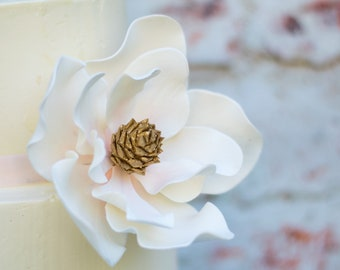 Magnolia Sugar Flower with Blush Details and Gold Center - Unique Wedding Cake Topper and Gumpaste Decorations