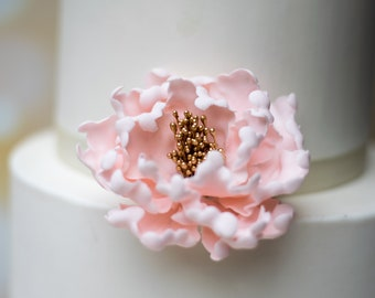 Blush and Gold Peony Sugar Flower - Unique Wedding Cake Topper - Gumpaste Flowers