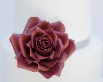 Large Burgundy Rose Sugar Flower Gumpaste Rose for Modern Wedding Cake Toppers, Cake Decor, DIY Weddings
