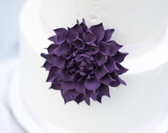 "Plum Purple 3"" Dahlia Sugar Flower - Unique Wedding Cake Topper"