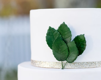 "Dark Green Rose Leaves, 1.5"" in height, set of 5 for sugar flower wedding cake toppers"