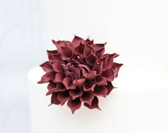 "Medium Burgundy Dahlia 3"" wide, unique wedding cake topper, sugar flower cake decoration, gumpaste flower, cranberry dahlia"