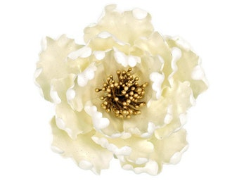 White  and Gold Peony Gumpaste Flower Wedding Cake Topper