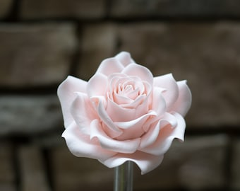 Large Blush Rose Sugar Flower Gumpaste Rose for Modern Wedding Cake Toppers, Cake Decor, DIY Weddings