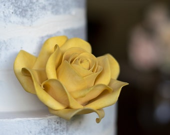Golden Yellow Rose Sugar Flower Gumpaste Rose for Modern Wedding Cake Toppers