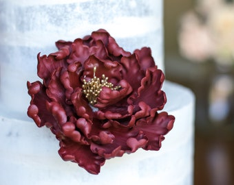 Burgundy and Gold Open Peony Sugar Flower Unique Cake Topper Gumpaste Flowers Cake Decoration