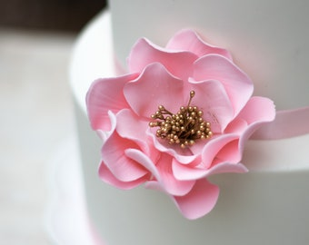 Pink and Gold Open Rose Sugar Flower READY TO SHIP for Gumpaste Flower Arrangements and Wedding Cake Toppers