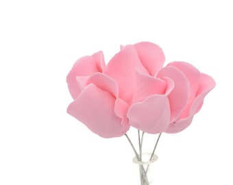 Pink Rose Buds - set of 5 Sugar Flowers for Wedding Cake Topper