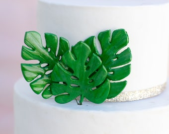 Small Monstera Leaf set of 3 Green Leaves for Sugar Flower Arrangements and Tropical Wedding Cake Toppers