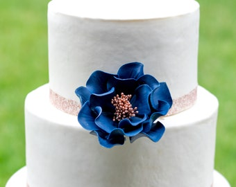 Navy and Rose Gold Open Rose Sugar Flower - Unique Wedding Cake Topper