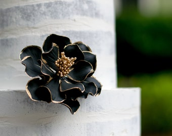 Black and Gold Open Rose Sugar Flower with Gold Edging READY TO SHIP wedding cake topper