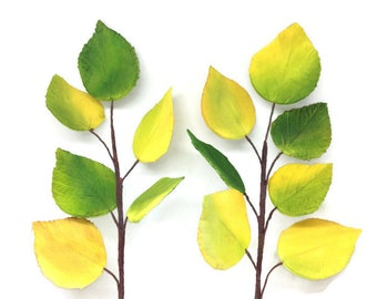 Aspen Leaves - Gumpaste Yellow and Green Aspen Leaves - Sugar Flower Wedding Cake Decorations
