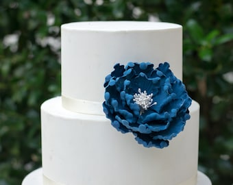 "4"" Navy Open Peony Sugar Flower Gumpaste Wedding Cake Topper"