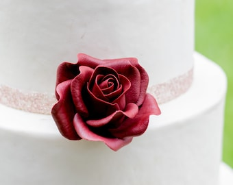 Small Burgundy Rose Sugar Flower Wedding Cake Topper