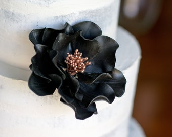 Black and Rose Gold Open Rose Sugar Flower Wedding Cake Topper