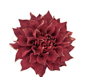 "Medium Burgundy Dahlia 3"" wide with rose gold details wedding cake topper"