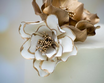 White and Gold Open Rose Sugar Flower with Gold Edging - Wedding Cake Topper - READY TO SHIP
