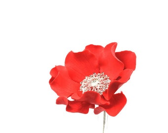 Red Sugar Flower with Silver Crystal Brooch Center Christmas Cake Topper