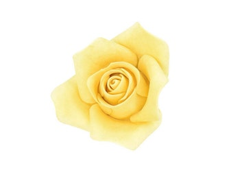 Small Golden Yellow Rose Sugar Flower Rose for Modern Wedding Cake Toppers, Gumpaste Flower Bouquets, Bridal Shower or Baby Shower