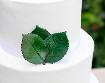 Large Rose Leaves - set of 3 Dark Green Leaves for Gumpaste and Sugar Flower Cake Toppers
