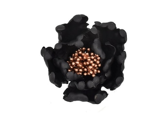 Black and Rose Gold Open Peony Sugar Flower for wedding cake toppers and gumpaste decorations, birthday cakes, modern brides, bridal showers