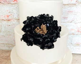 Black and gold open peony sugar flower, unique cake topper, gumpaste flowers, cake decoration