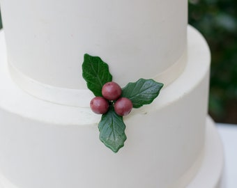 Holly leaves with burgundy berries - Gumpaste Cake Topper