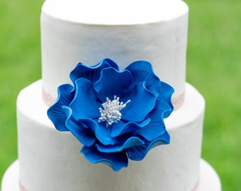 Royal Blue Open Rose Sugar Flower