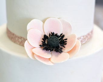 Blush Pink Anemone Sugar Flower Wedding Cake Topper