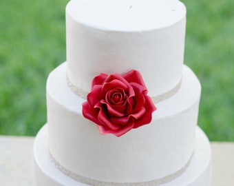 "Red 3"" Sugar Flower Wedding Cake Topper"