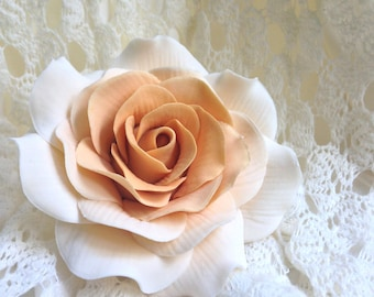 Ivory and Gold Two Toned Rose Sugar Flower Gumpaste Rose for Modern Wedding Cake Toppers