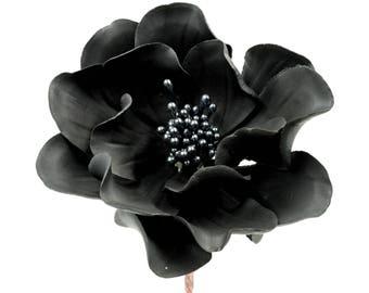 Black Open Rose Sugar Flower Wedding Cake Topper