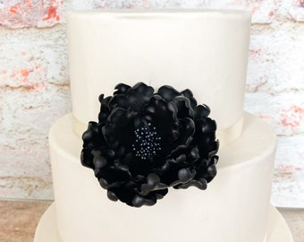 Black Open Peony Sugar Flower for wedding cake toppers