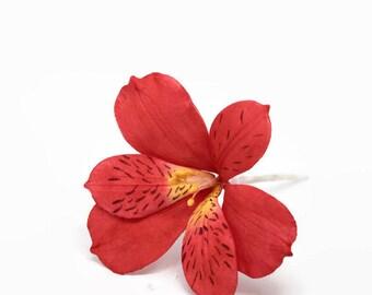 Red Alstromeria Sugar Flower for wedding cake toppers, fondant and gumpaste flowers, lilies, diy bride, cake decoration, bridal shower
