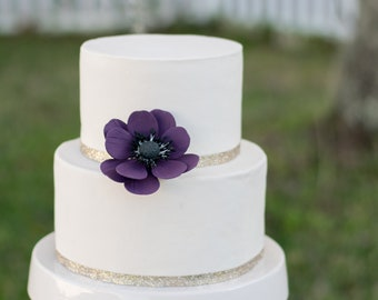 Plum Anemone Sugar Flower wedding cake topper