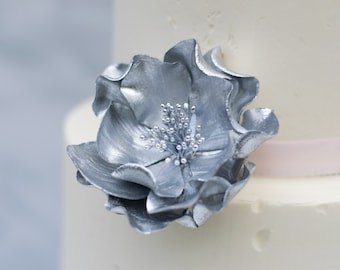 Silver Open Rose Sugar Flower for wedding cake toppers, birthday decorations, bridal showers, gumpaste flowers