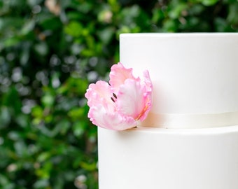 Pink Parrot Tulip Sugar Flower - Easter Cake Topper - Unique Wedding Cake Topper - Gumpaste Cake Decor