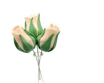Premium Blush Pink Rose Buds set of 5 for sugar flower arrangements, fondant gumpaste wedding cake toppers, cake decorations, filler flower