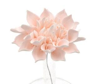 Small Blush Pink Dahlia Sugar Flower Wedding Cake Topper, Modern Wedding Design, Floral Cake Arrangement, DIY Bride, Gumpaste Flowers