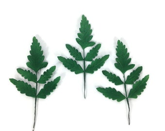 Large Fern Leaves set of 3 green sugar leaves, Gumpaste Wedding Cake Topper, Foliage and Flower Arrangements, Greenery, Woodland wedding