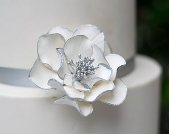 White and Silver Open Rose Sugar Flower with Silver Edging - Wedding Cake Topper READY TO SHIP