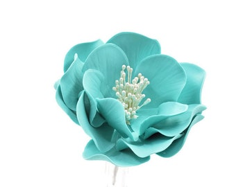 Teal Open Rose Sugar Flower - Birthday Cake Topper - Unique Cake Topper Gumpaste Flower - Birthday Cake Sugar Flowers