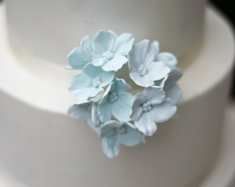 12 Hydrangea Gumpaste Sugar Flowers in Blue for Wedding and Bridal Shower Cake Topper