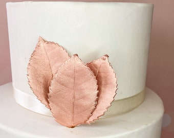 Rose Gold Large Metallic Gumpaste Rose Leaves set of 3 - perfect for sugar flower displays