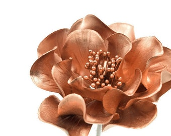 Rose Gold Open Rose gumpaste flowers cake topper, sugar flowers, modern wedding cake topper, rose gold cake topper