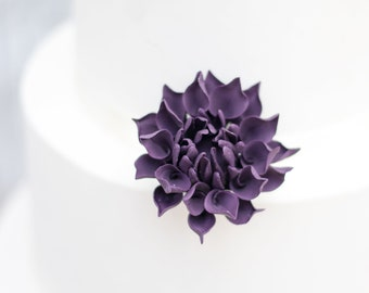 "Small 2"" Plum Dahlia Sugar Flower Wedding Cake Topper"